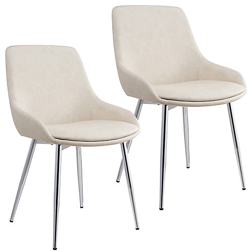 Cassidy Metal Chrome Parson Dining Chair with Beige Faux Leather Seat - (Set of 2)