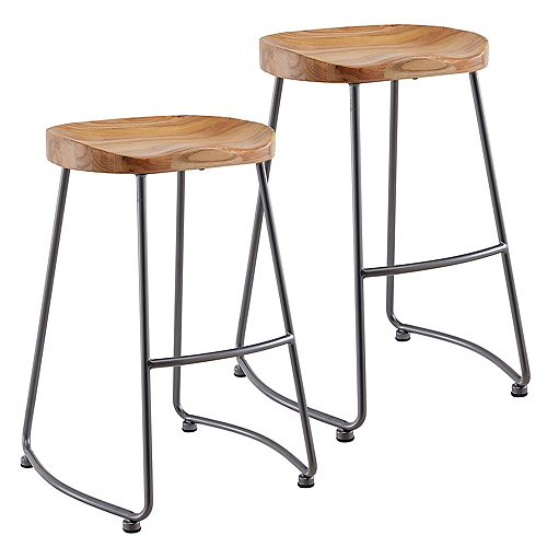 Moka Metal Clear Rustic Backless Armless Bar Stool with Natural Solid Wood Seat - (Set of 2)