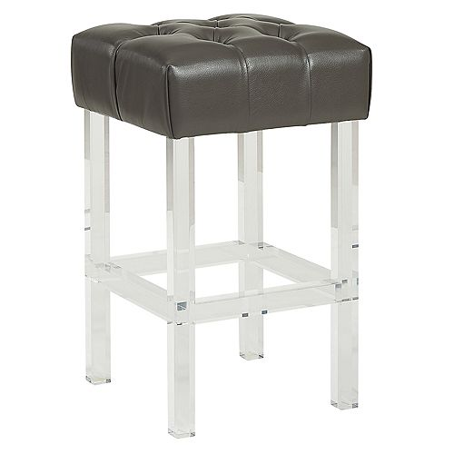 Noor Plastic/Acrylic Clear Contemporary Backless Armless Bar Stool with Grey Genuine Leather Seat