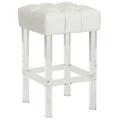 Noor Plastic/Acrylic Clear Contemporary Backless Armless Bar Stool with White Genuine Leather Seat