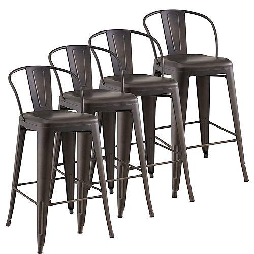 Tivo Metal Grey Industrial Bar Stool with Grey Metal Seat - (Set of 4)