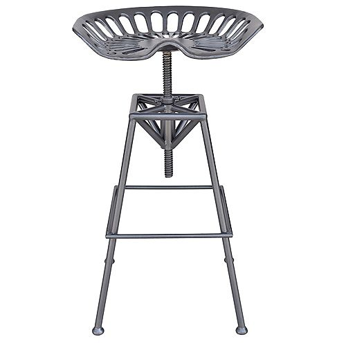 Tractor Metal Grey Industrial Backless Armless Bar Stool with Grey Metal Seat