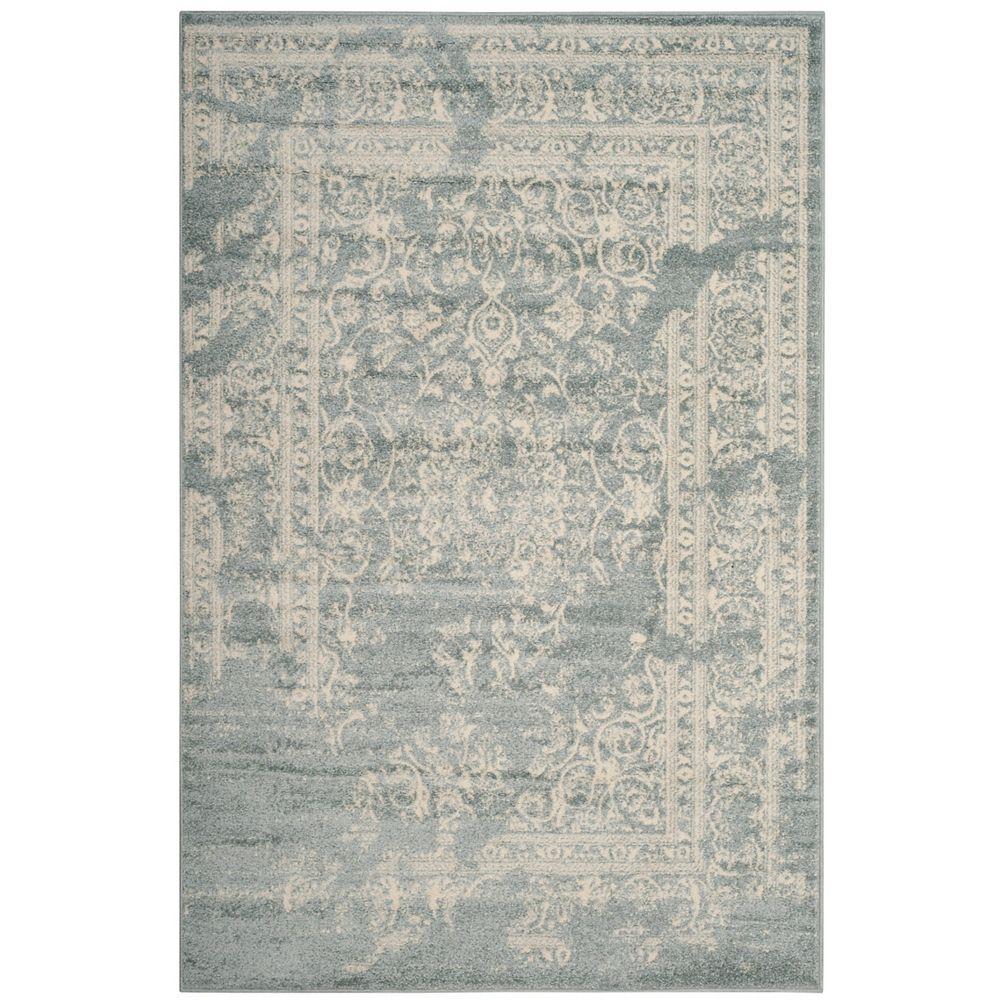 Safavieh Carpette d'intérieur, 4 pi x 6 pi, style traditionnel, rectangulaire, argent Adirondack