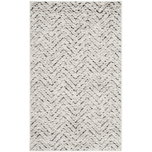 Adirondack Kevin Ivory / Charcoal 3 ft. x 5 ft. Indoor Area Rug