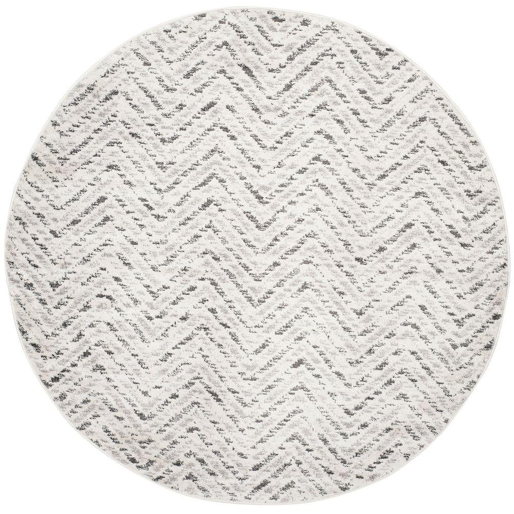 Safavieh Carpette d'intérieur, 4 pi x 4 pi, style contemporain, ronde, blanc cassé Adirondack