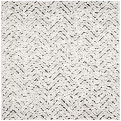 Carpette d'intérieur, 4 pi x 4 pi, style contemporain, carrée, blanc cassé Adirondack