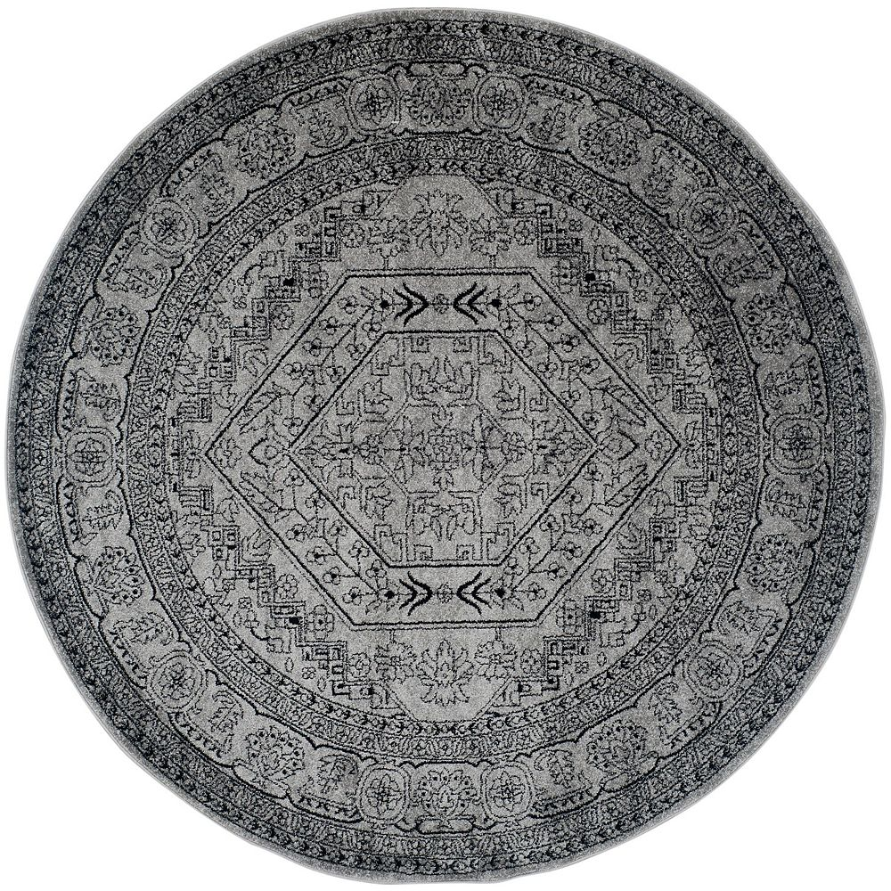 Safavieh Carpette d'intérieur, 8 pi x 8 pi, style traditionnel, ronde, argent Adirondack