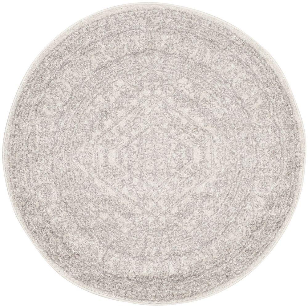 Safavieh Carpette d'intérieur, 4 pi x 4 pi, style traditionnel, ronde, argent Adirondack