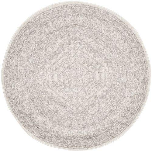 Carpette d'intérieur, 4 pi x 4 pi, style traditionnel, ronde, argent Adirondack