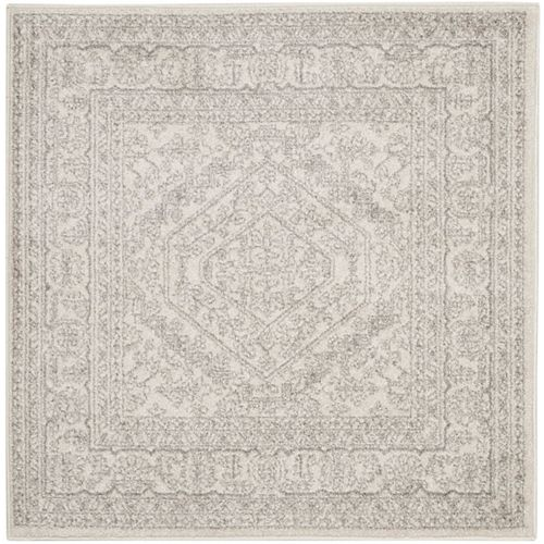 Carpette d'intérieur, 4 pi x 4 pi, style traditionnel, carrée, argent Adirondack