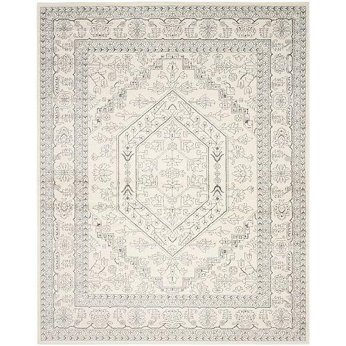 Carpette d'intérieur, 9 pi x 10 pi, style traditionnel, rectangulaire, argent Adirondack