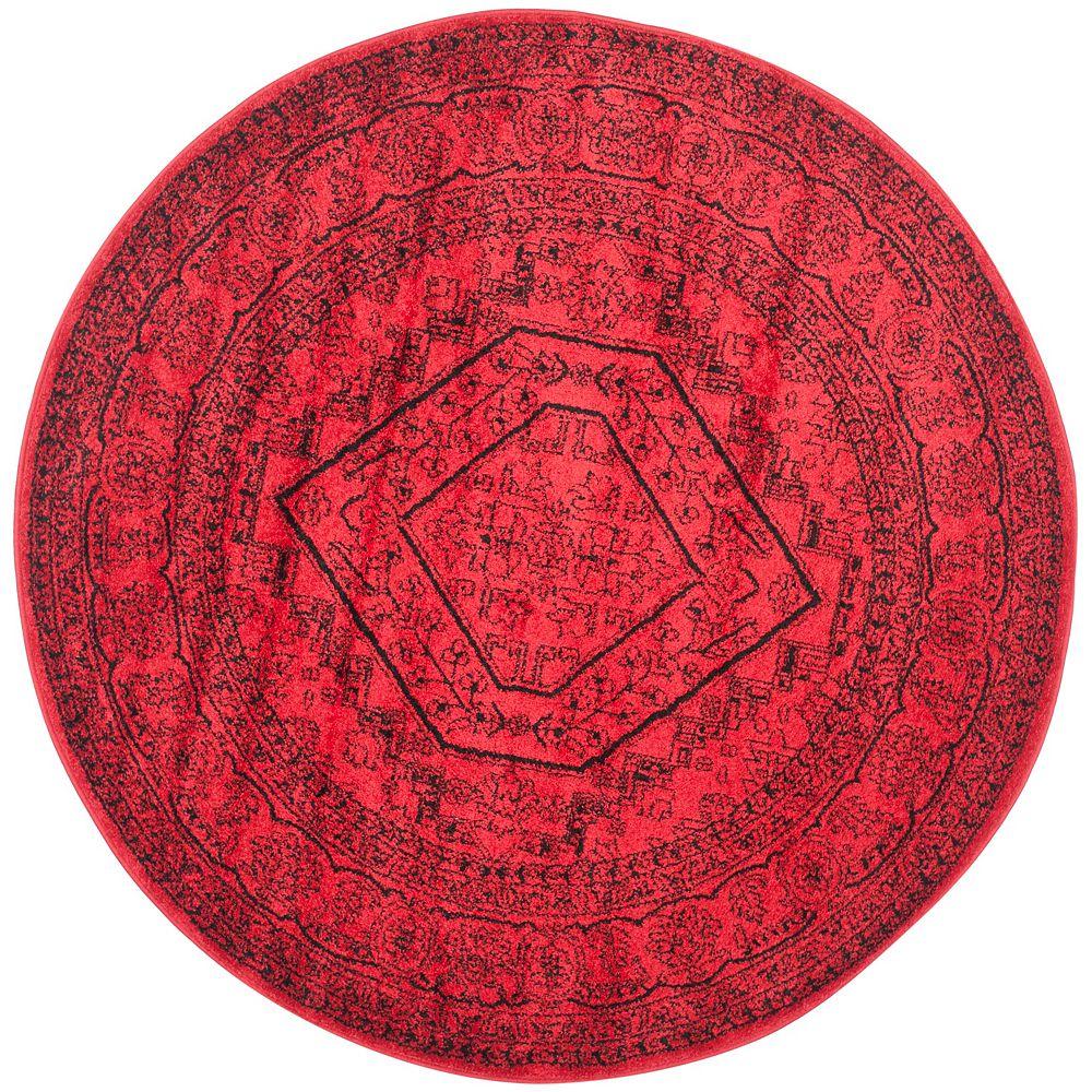 Safavieh Carpette d'intérieur, 8 pi x 8 pi, style traditionnel, ronde, rouge Adirondack