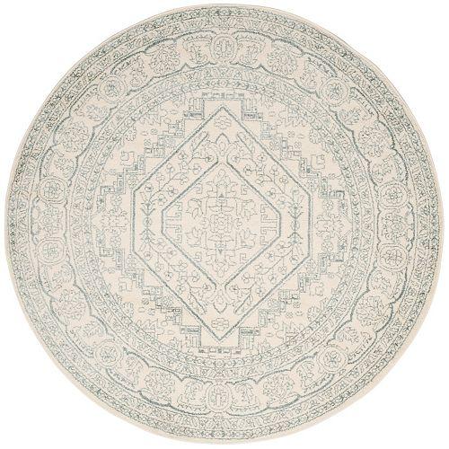 Carpette d'intérieur, 6 pi x 6 pi, style traditionnel, ronde, blanc cassé Adirondack