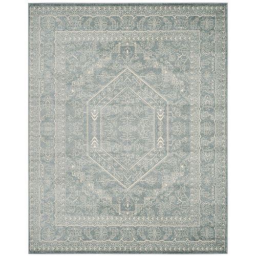 Carpette d'intérieur, 9 pi x 10 pi, style traditionnel, rectangulaire, bleu Adirondack