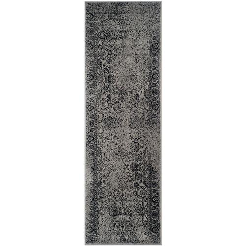 Adirondack Mackenzie Grey / Black 2 ft. 6 inch x 10 ft. Indoor Runner