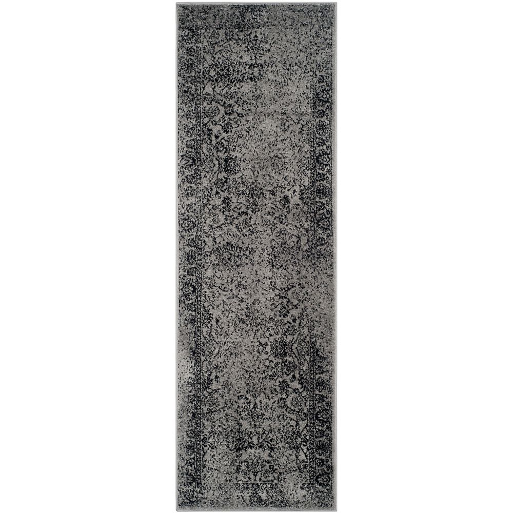 Safavieh Adirondack Mackenzie Grey / Black 2 ft. 6 inch x 12 ft. Indoor Runner