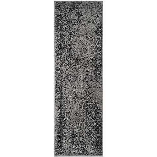 Adirondack Mackenzie Grey / Black 2 ft. 6 inch x 14 ft. Indoor Runner