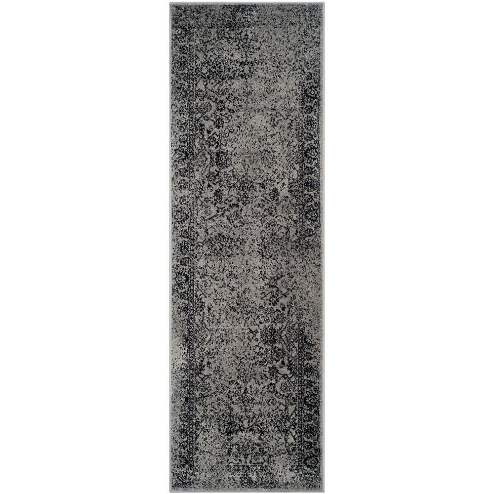 Safavieh Tapis de passage d'intérieur, 2 pi 6 po x 8 pi, style traditionnel, gris Adirondack