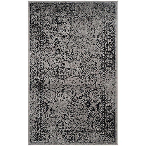 Adirondack Mackenzie Grey / Black 3 ft. x 5 ft. Indoor Area Rug