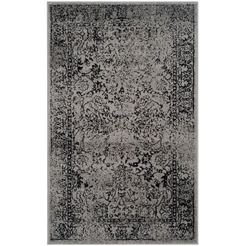 Adirondack Mackenzie Grey / Black 3 ft. x 5 ft. Indoor Area Rug