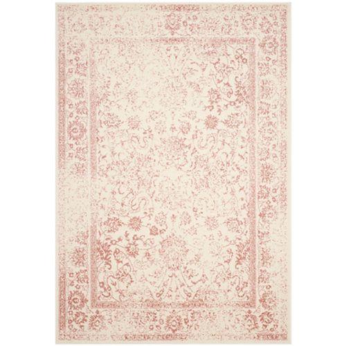Adirondack Mackenzie Ivory / Rose 5 ft. 1 inch x 7 ft. 6 inch Indoor Area Rug