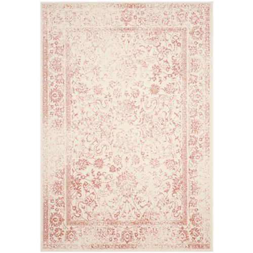 Carpette d'intérieur, 6 pi x 9 pi, style traditionnel, rectangulaire, rose Adirondack