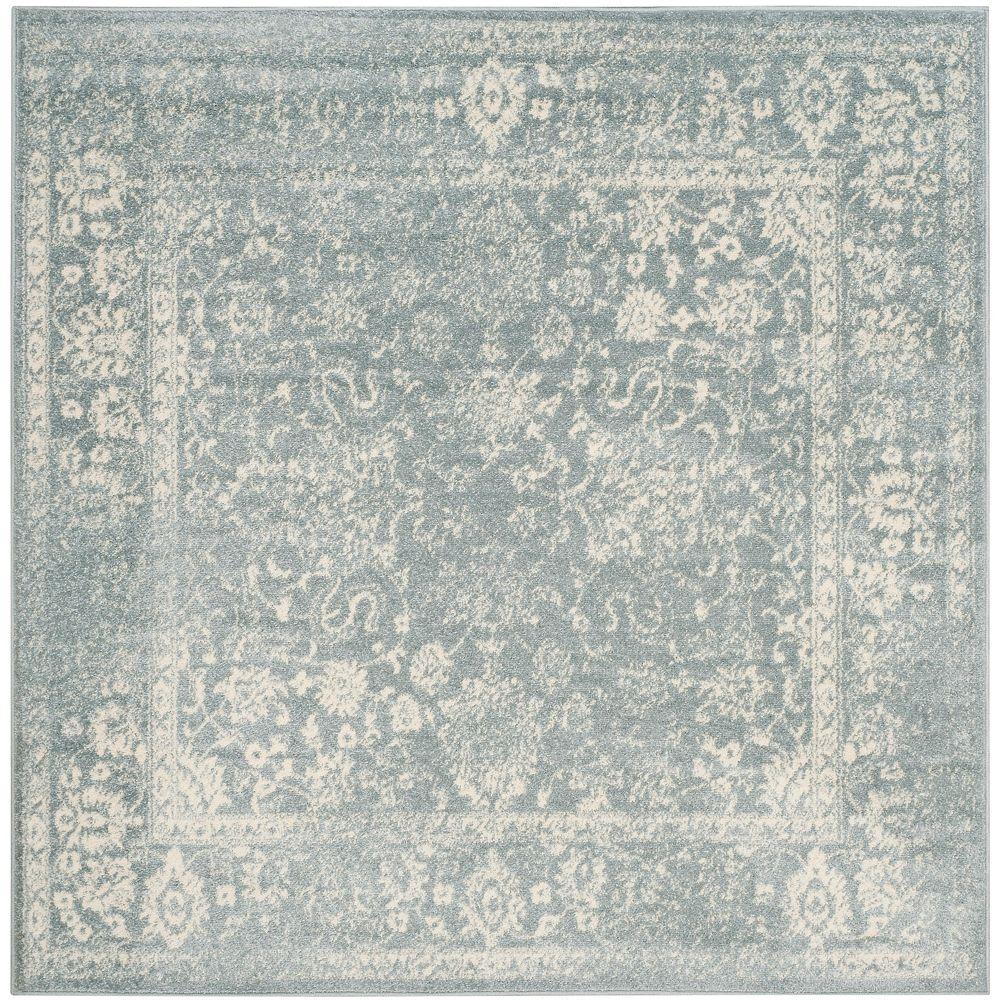 Safavieh Carpette d'intérieur, 8 pi x 8 pi, style traditionnel, carrée, bleu Adirondack