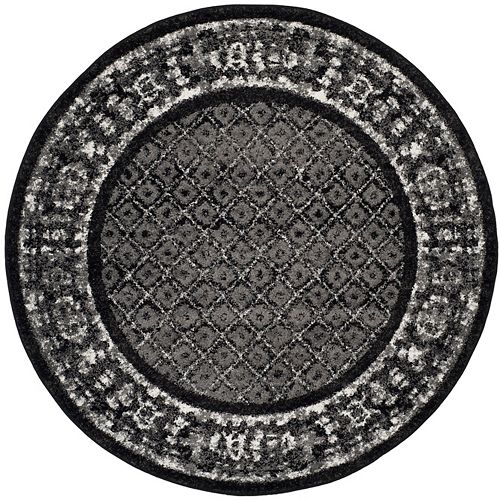 Safavieh Adirondack Luther Black / Silver 4 ft. x 4 ft. Indoor Round Area Rug