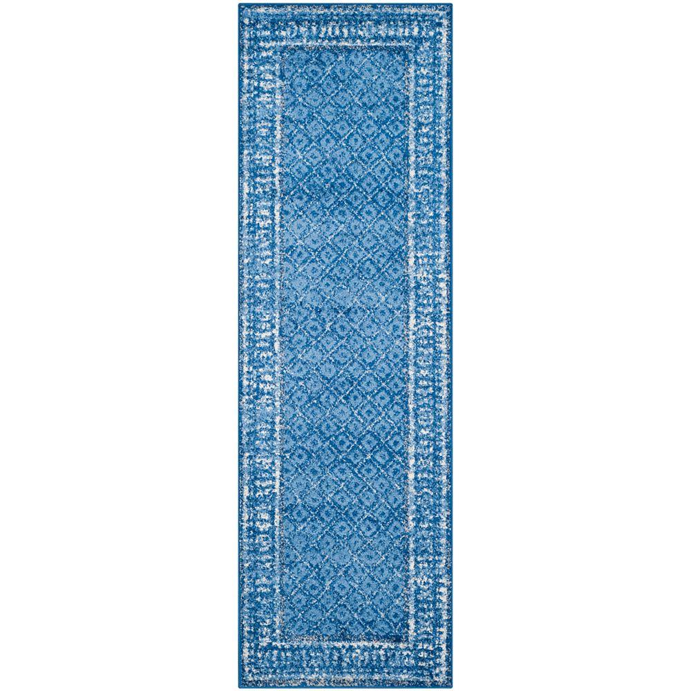 Safavieh Tapis de passage d'intérieur, 2 pi 6 po x 16 pi, style traditionnel, bleu Adirondack