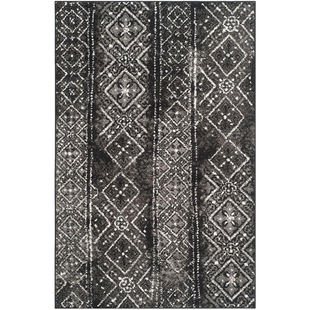 Safavieh Carpette d'intérieur, 6 pi x 9 pi, style traditionnel, rectangulaire, noir Adirondack