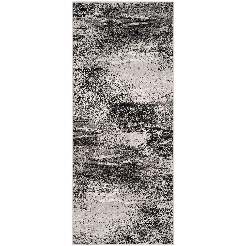Safavieh Tapis de passage d'intérieur, 2 pi 6 po x 6 pi, style contemporain, argent Adirondack