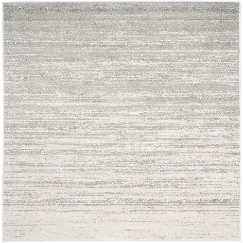 Carpette d'intérieur, 8 pi x 8 pi, style contemporain, carrée, argent Adirondack