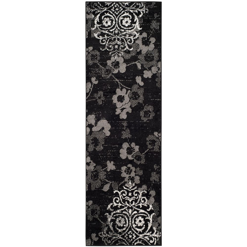 Safavieh Adirondack Roslyn Black / Silver 2 ft. 6 inch x 12 ft. Indoor Runner