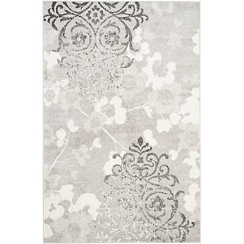 Adirondack Roslyn Silver / Ivory 5 ft. 1 inch x 7 ft. 6 inch Indoor Area Rug