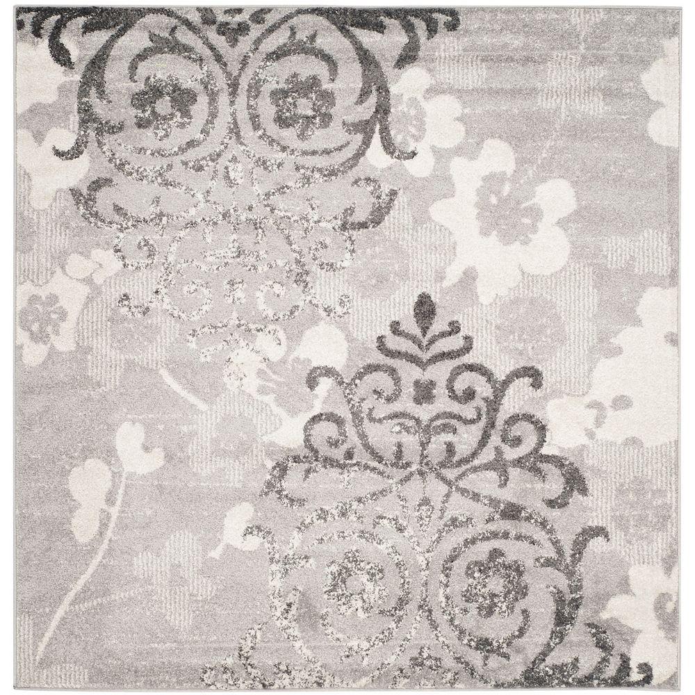 Safavieh Carpette d'intérieur, 8 pi x 8 pi, style contemporain, carrée, argent Adirondack