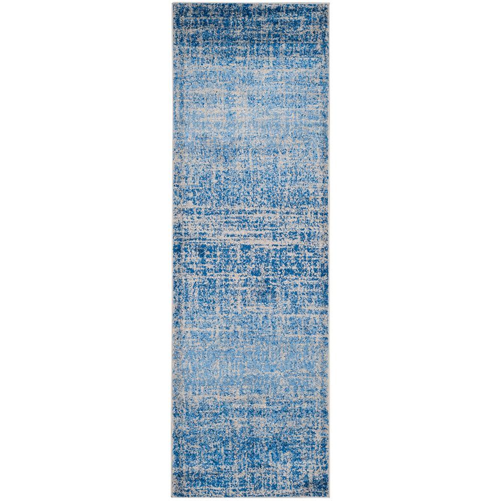 Safavieh Tapis de passage d'intérieur, 2 pi 6 po x 6 pi, style contemporain, bleu Adirondack