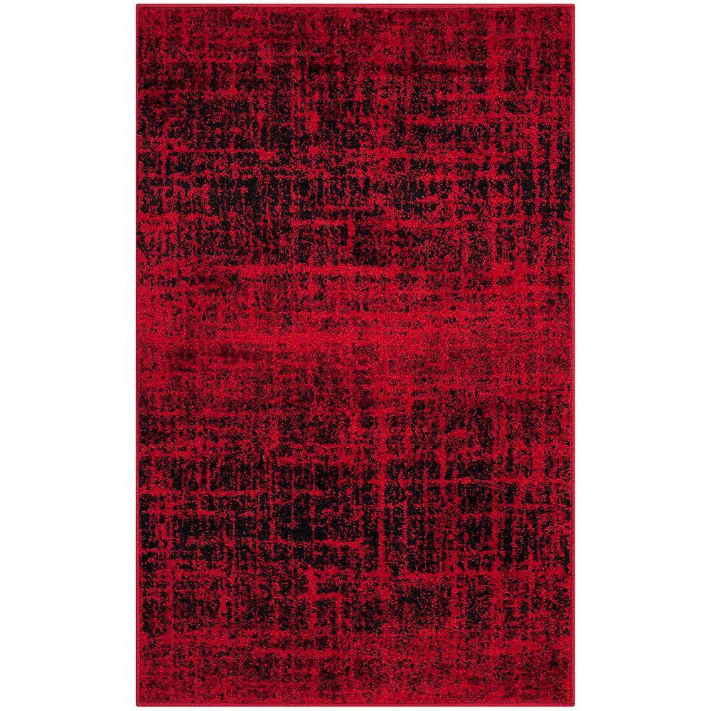 Safavieh Carpette d'intérieur, 2 pi 6 po x 4 pi, style contemporain, rectangulaire, rouge Adirondack