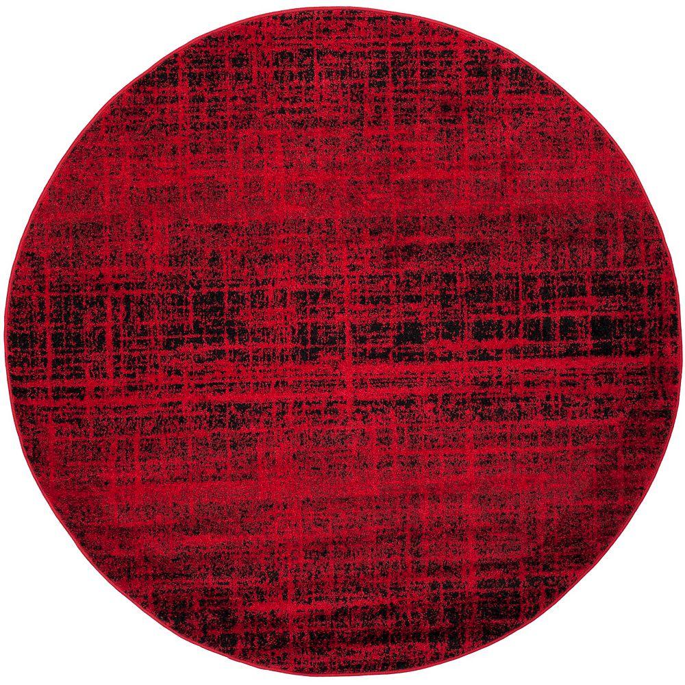 Safavieh Carpette d'intérieur, 4 pi x 4 pi, style contemporain, ronde, rouge Adirondack