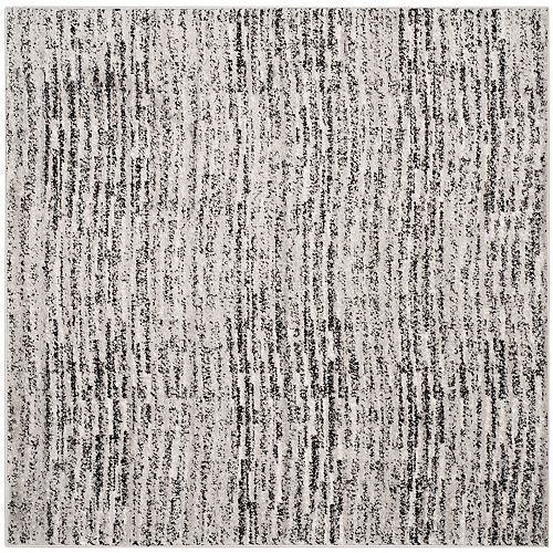 Carpette d'intérieur, 4 pi x 4 pi, style contemporain, carrée, noir Adirondack