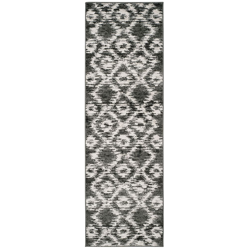 Safavieh Tapis de passage d'intérieur, 2 pi 6 po x 6 pi, Adirondack Sheryl, gris charbon / ivoire