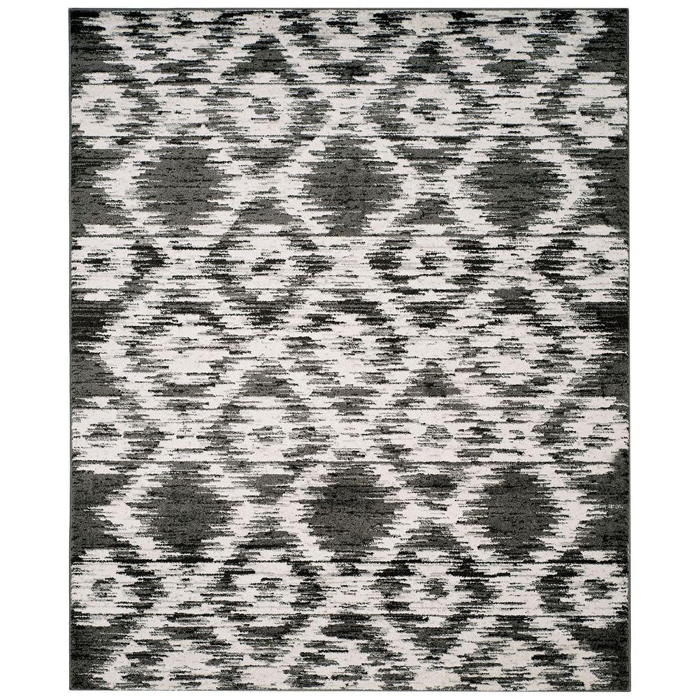 Safavieh Tapis d'intérieur, 8 pi x 10 pi, Adirondack Sheryl, gris charbon / ivoire