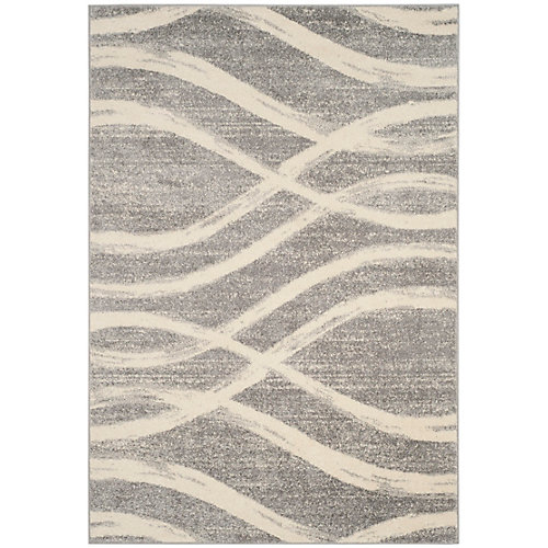 Adirondack Gerald Grey / Cream 8 ft. x 10 ft. Indoor Area Rug