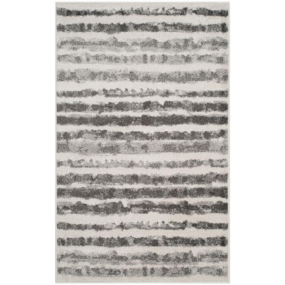 Safavieh Tapis d'intérieur, 3 pi x 5 pi, Adirondack Callista, ivoire / gris charbon