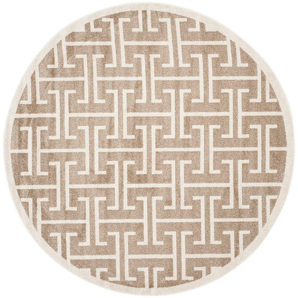 Safavieh Tapis d'intérieur/extérieur rond, 7 pi x 7 pi, Amherst Deborah, blé / beige
