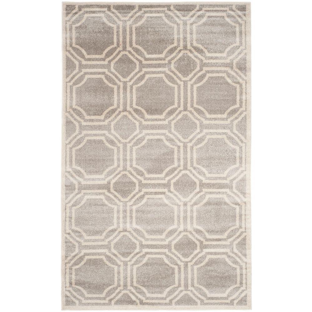 Safavieh Tapis d'intérieur/extérieur, 6 pi x 9 pi, Amherst Roscoe, gris clair / ivoire