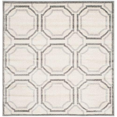 Safavieh Tapis d'intérieur/extérieur carré, 5 pi x 5 pi, Amherst Roscoe, ivoire / gris clair