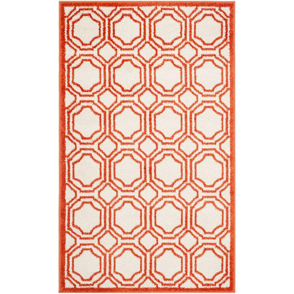 Safavieh Tapis d'intérieur/extérieur, 3 pi x 5 pi, Amherst Roscoe, ivoire / orange