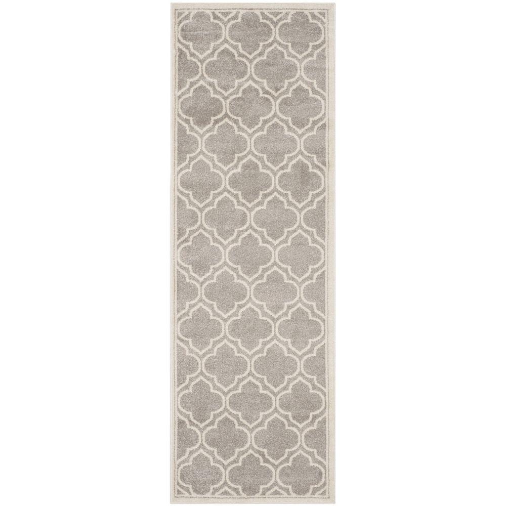 Safavieh Tapis de passage d'intérieur/extérieur, 2 pi 3 po x 13 pi, Amherst Shirley, gris clair / ivoire
