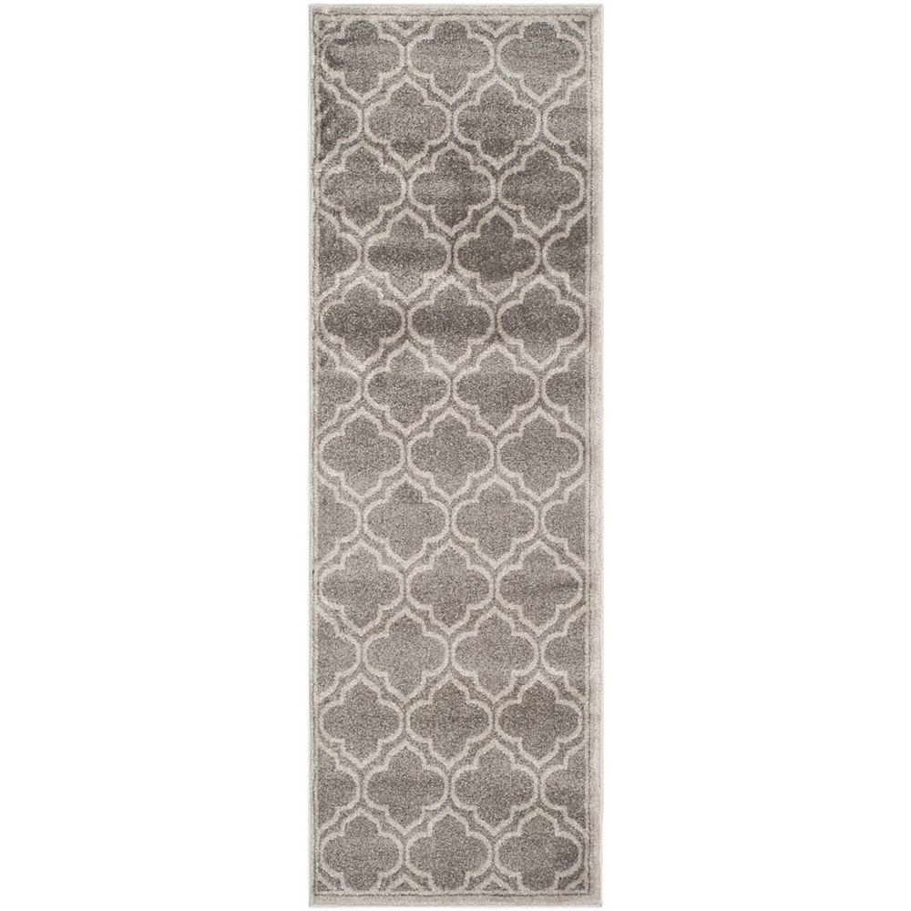 Safavieh Tapis de passage d'intérieur/extérieur, 2 pi 3 po x 11 pi, Amherst Shirley, gris / gris clair