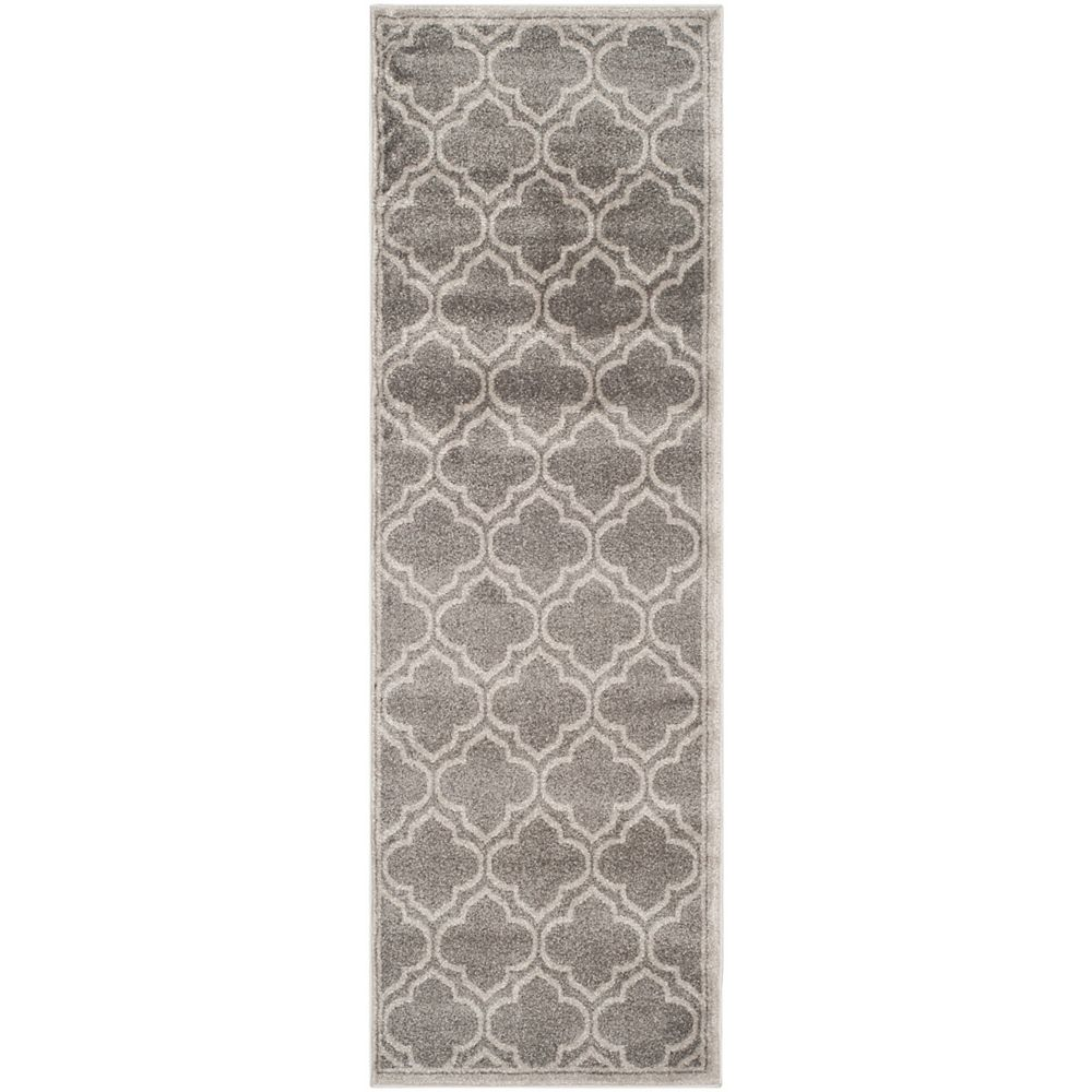 Safavieh Tapis de passage d'intérieur/extérieur, 2 pi 3 po x 13 pi, Amherst Shirley, gris / gris clair